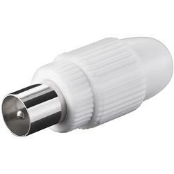 Image of · Connettore coassiale antenna 9.5 mm maschio· Cuffia in Plastica· Connettore in metallo· Fissaggio conduttore a Vite· Connettore cavo antenna TV Maschio 9.5 mm