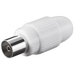Image of · Connettore coassiale antenna 9.5 mm Femmina· Cuffia in Plastica· Connettore in metallo· Fissaggio conduttore a Vite· Connettore cavo antenna TV Femmina 9.5 mm