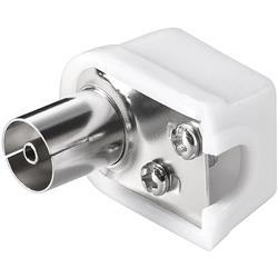 Image of · Connettore coassiale antenna 9.5 mm Femmina· Cuffia in Plastica· Connettore in metallo· Fissaggio conduttore a Vite· Connettore cavo antenna TV Femmina Angolato 9.5 mm