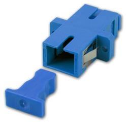 Image of · Adattatore a bussola SC (UPC) / SC (UPC) SIMPLEX monomodale · Per montaggio su distributori a pannello o box a muro · Struttura in plastica colore blu, ferrula in ceramica e aggancio a scatto