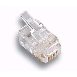 Image of · Plug Telefonico per telefonia· Plug modulare· 4 poli 4 contatti · Connettori dorati · Maschio· TrasparenteOrdinabile in multipli di 10 pezzi