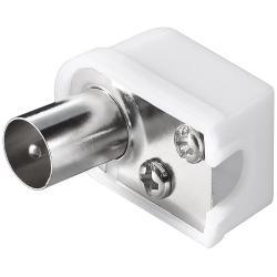Image of · Connettore coassiale antenna 9.5 mm maschio· Cuffia in Plastica· Connettore in metallo· Fissaggio conduttore a Vite· Connettore cavo antenna TV Maschio Angolato 9.5 mm