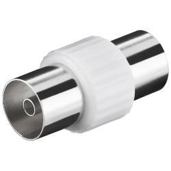 Image of · Connettore coassiale antenna 9.5 mm Femmina/Femmina· Cuffia in Plastica· Connettore in metallo· Adattatore Cavo antenna TV Femmina/Femmina 9.5 mm