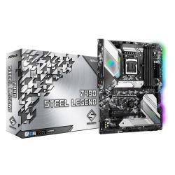 Image of Asrock Z490 Steel Legend. Produttore processore: Intel, Processori compatibili: Intel? Celeron?, Intel? Core? i3, Intel Core i5, Intel Core i7, Intel Core i9, Intel? Pentium?. Tipi di memoria supportati: DDR4-SDRAM, tipo di slot di memoria: DIMM, Velocit?
