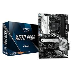 Image of Asrock X570 Pro4. Produttore processore: AMD, Presa per processore: Presa AM4, Processori compatibili: AMD Ryzen. Tipi di memoria supportati: DDR4-SDRAM, tipo di slot di memoria: DIMM, Velocità di memoria supportate: 2133,2400,2667,2933,3200,3466,3