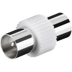 Image of · Connettore coassiale antenna 9.5 mm Maschio/Maschio· Cuffia in Plastica· Connettore in metallo· Adattatore Cavo antenna TV Maschio/Maschio 9.5 mm