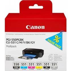 Image of ORIGINAL Canon Multipack nero / ciano / magenta / giallo / Grigio 6496B005 PGI-550 + CLI-551 6 cartucce: 1x PGI-550 + 1 cartuccia pro colore. CLI-551 BK+C+M+Y+GY