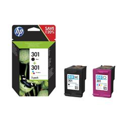Image of ORIGINAL HP Multipack nero / differenti colori N9J72AE 301 2x inchiostro HP 301: 1x CH561EE + 1x CH562EE